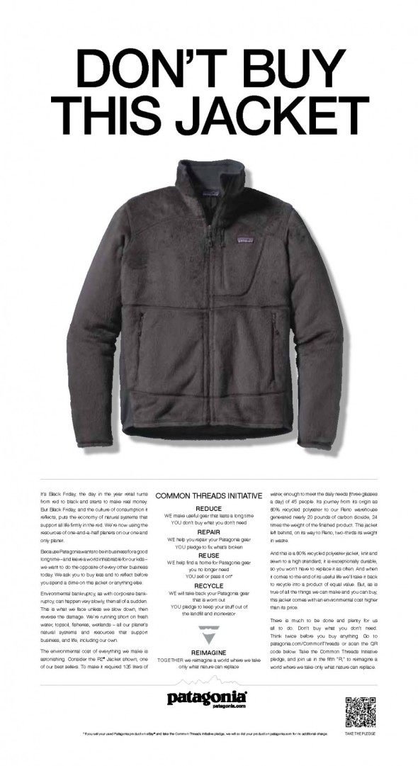 Patagonia-Werbung in der NEW YORK TIMES