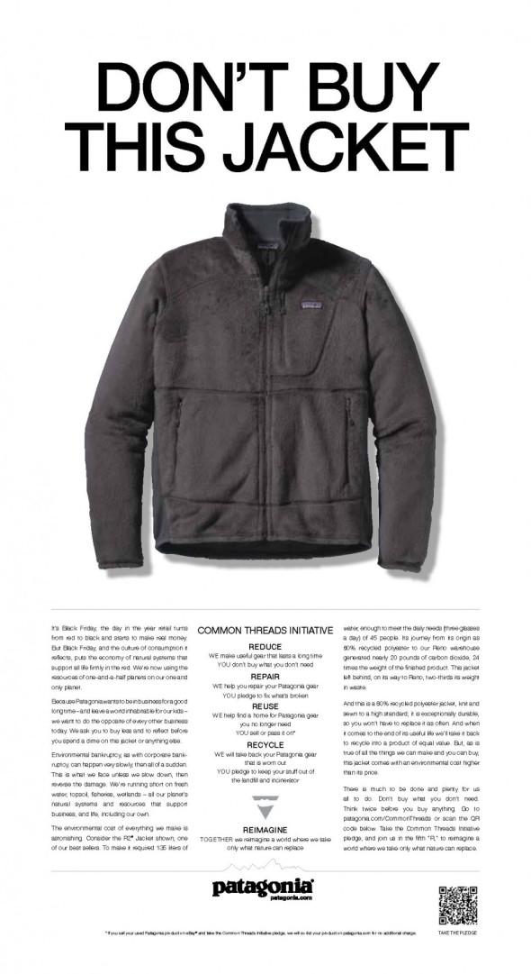 Patagonia-Werbung in der NEW YORK TIMES